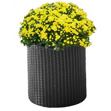 Горшок для цветов Keter (Израиль) Cylinder Planter Medium серый