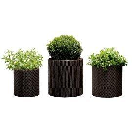 Набор горшков для цветов Keter (Израиль) Cylinder Planter Set коричневый
