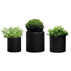 Набор горшков для цветов Keter (Израиль) Cylinder Planter Set серый