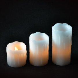 Комплект 3-х свечей декоративных Mica Decorations, белый с желтым