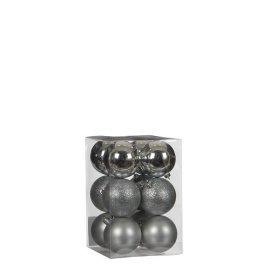 Елочные шарики House of Seasons серые, комплект 12 шт