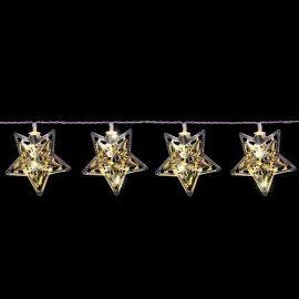 """Гирлянда Luca Lighting (Голландия) """"Серебристые звезды"""" теплый-белый, 1.35 м"""